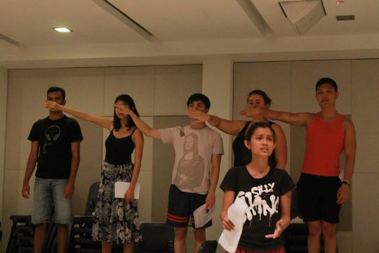 A powerful scene on silencing the LGBT community is enacted in the simplest of ways. During rehearsal.