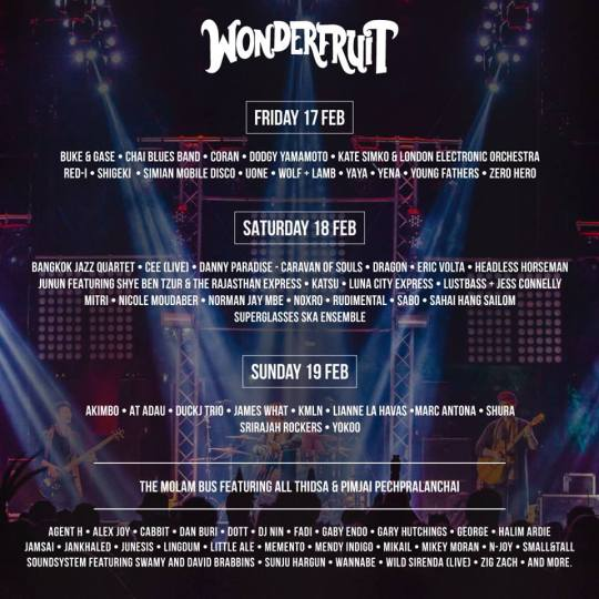 Line-up for Wonderfruit 2017