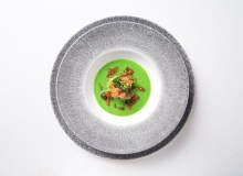 Tablescape - Veal Sweet Bread in 2min Pea Soup