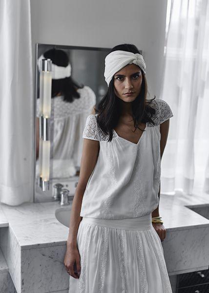 Silk white headband wedding hairstyle
