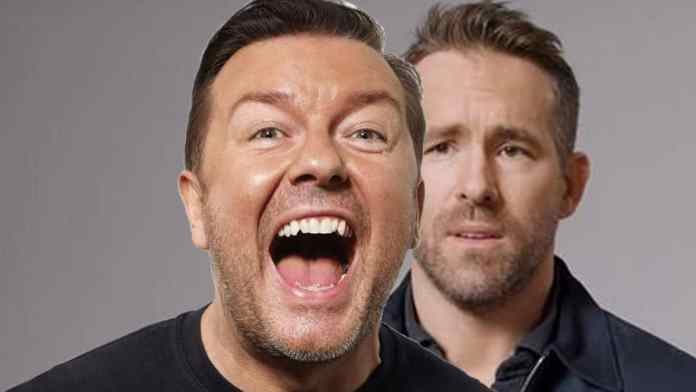 Ricky Gervais makes fun of Ryan Reynolds for apologising for