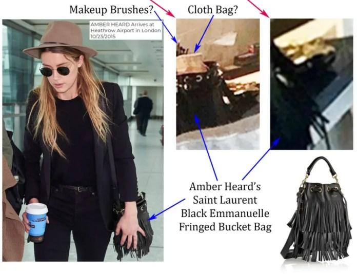 Heard's handbag with makeup brushes