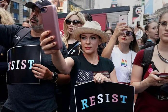 Alyssa Milano anti-Trump RESIST protest