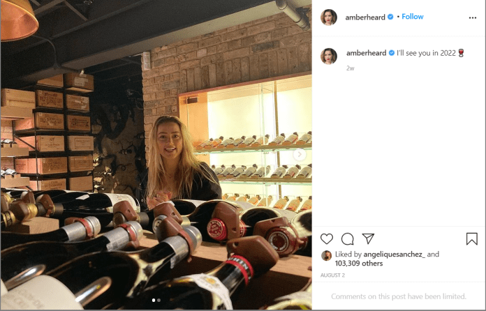 Amber Laura Heard loves red wine