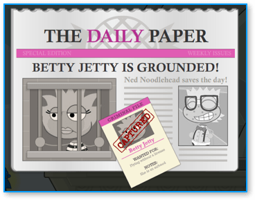 Captured Betty Jetty in Poptropica Super Power Island