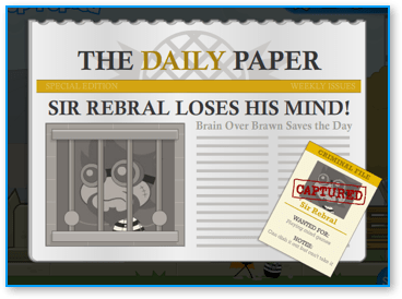 Captured Sir Rebral in Poptropica Super Power Island