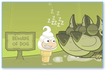 Cerberus asleep in Poptropica Mythology Island