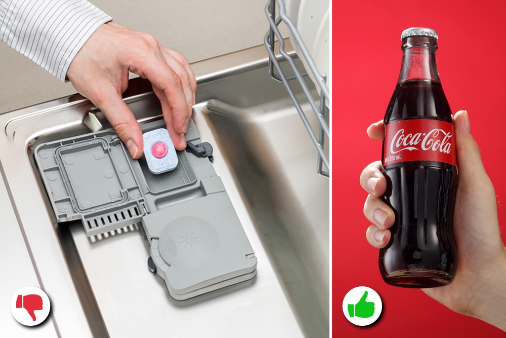 10 Amazing Uses You Never Knew About for Coca-Cola - Coca-Cola Used as Dish Washer