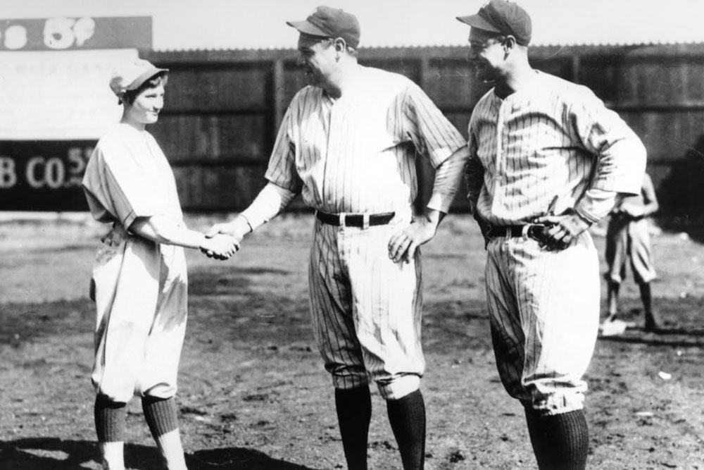 babe ruth defeated by female
