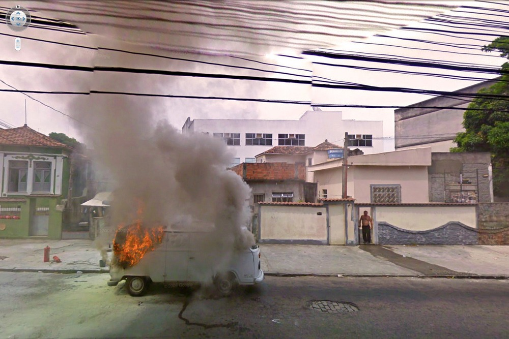 15 Crazy Moments Captured on Google Street View - Truck on Fire