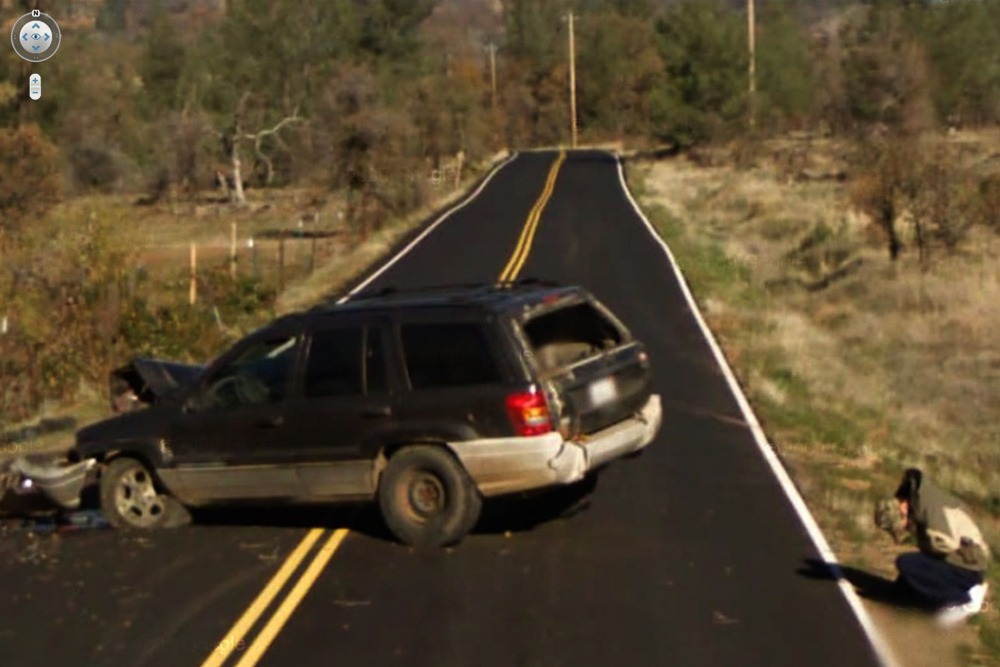 15 Crazy Moments Captured on Google Street View - Man's Car Crashed