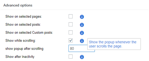 Advanced options when to show the popup