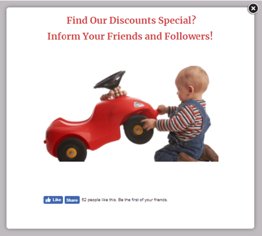Facebook popup discount Children's day