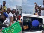 #EndSARS Protesters Ride In Official Police Van As Officer Drags Bread With Them (Video)