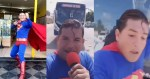 Comedian in superman costume gets hit by bus while pretending to stop it during stunt for his followers (Viral video)