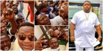 E Come Be Like Say I Drop Album: Huge Crowd of Young Men Welcome Cubana Chiefpriest as He Arrives Lagos Airport (Video)