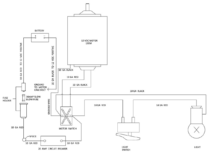 wiring diagram for UltaFab 4000 Tongue Jack | PopUpBackpacker