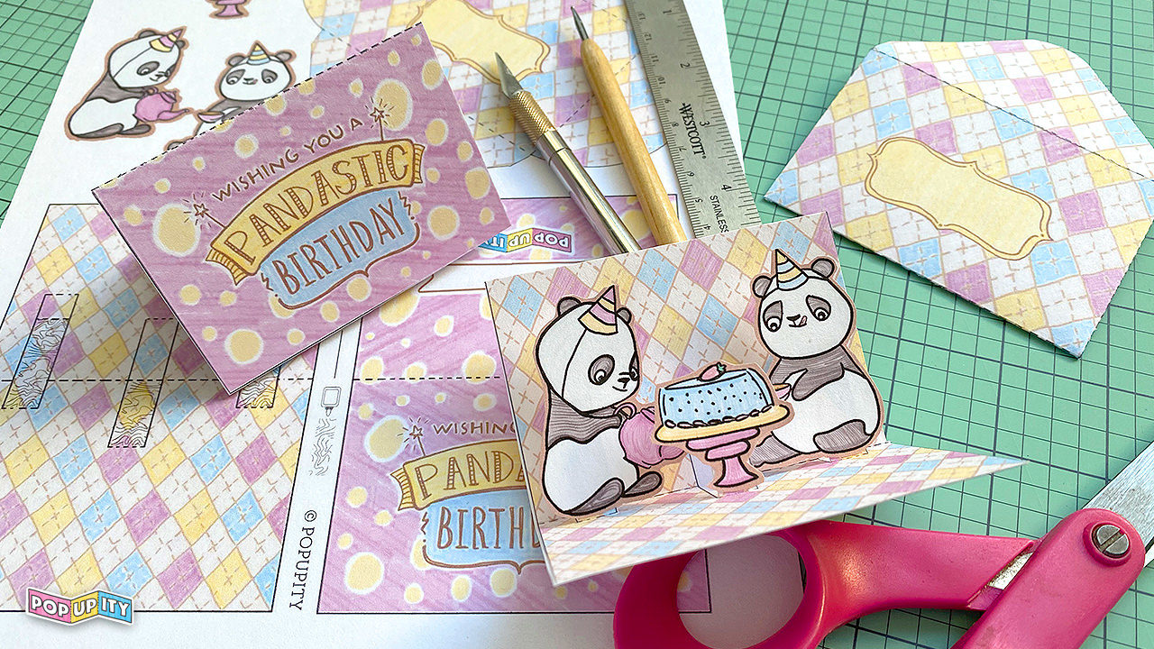 Popupity Diy Pop Up Birthday Card Panda Tea Party