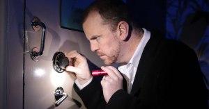 A dapper thief attempts to open the bank vault at Eureka Futures