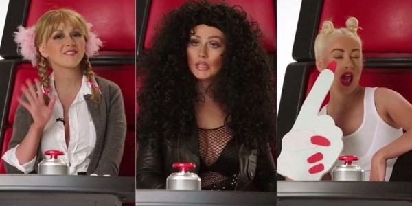 """Christina Aguilera imita Britney, Cher e Miley em vídeo do """"The Voice"""""""