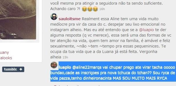 """Luana Piovani se irrita com seguidora do Instagram: """"Vai chupar prego"""""""