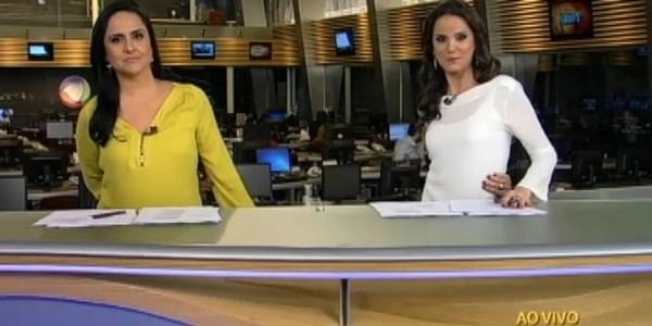 """Âncoras da Record tentam realizar o """"desafio do umbigo"""" durante telejornal"""