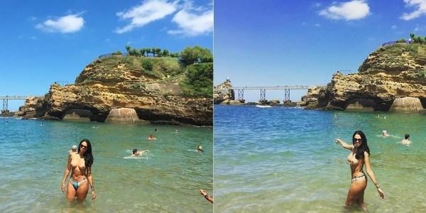De férias, Ex-BBB Ariadna faz topless em praia na França