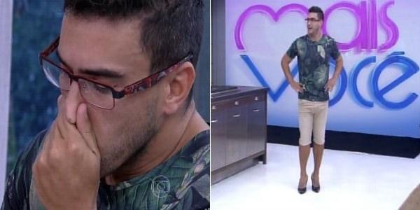 """André Marques depila a perna e anda de salto ao vivo no """"Mais Você"""""""