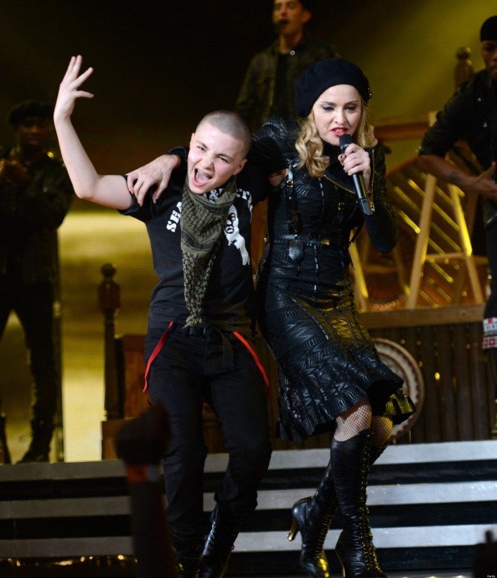 PHILADELPHIA, PA - AUGUST 28:  (Exclusive Coverage) Rocco Ritchie and Madonna perform during the MDNA North America tour opener at the Wells Fargo Center on August 28, 2012 in Philadelphia, Pennsylvania.  (Photo by Kevin Mazur/WireImage)