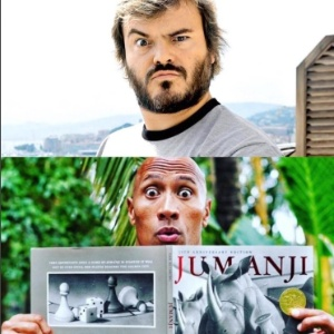 "The Rock confirma Jack Black no elenco da refilmagem de ""Jumanji"""