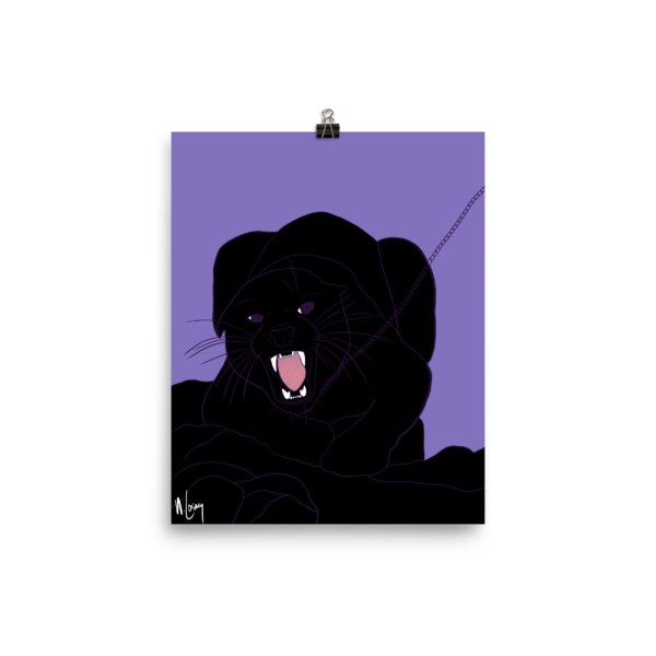 Here Kitty black panther on a chain purple background poster