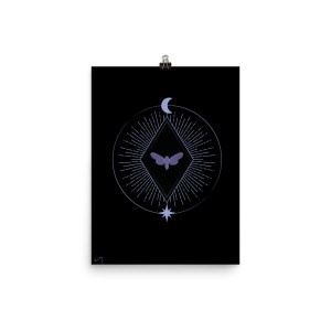 Lunar moth purple and black star and moon poster