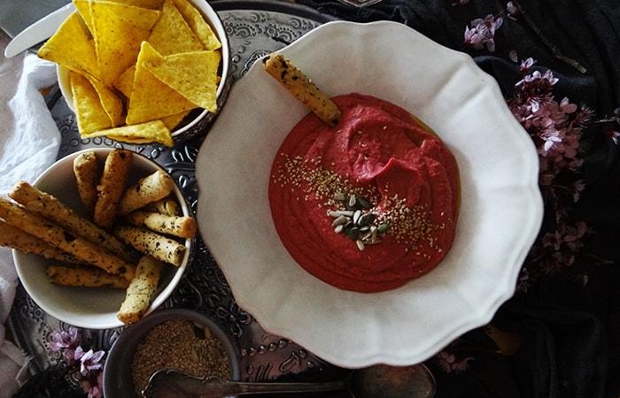 Receta de hummus de remolacha