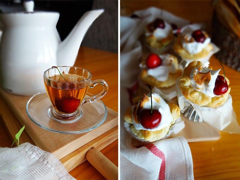 tartaletas de hojaldre con merengue de limón y cerezas