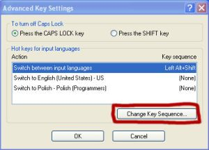 Zmień sekwencję klawiszy (Change Key Sequence)