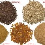Produkty z gorczycą, bursztynem i łuską gryki