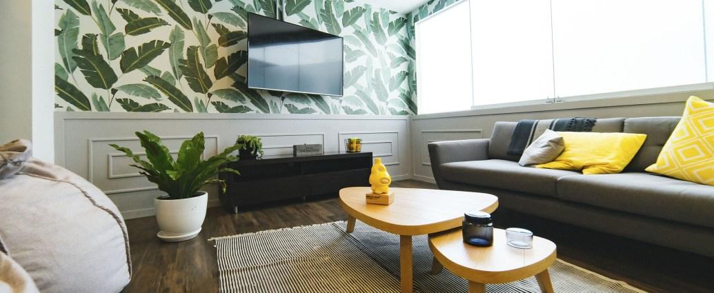 Salon ze ścianą z fototapetą