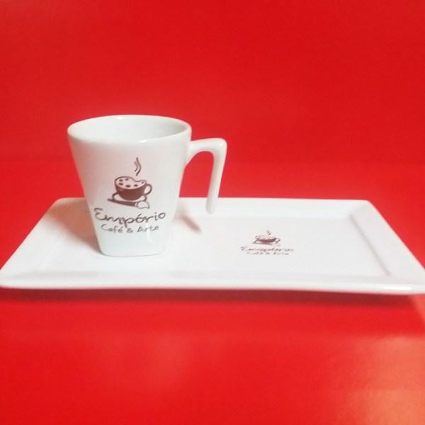 XICARA DE CAFE COM BANDEJA RETANGULAR 60 ML