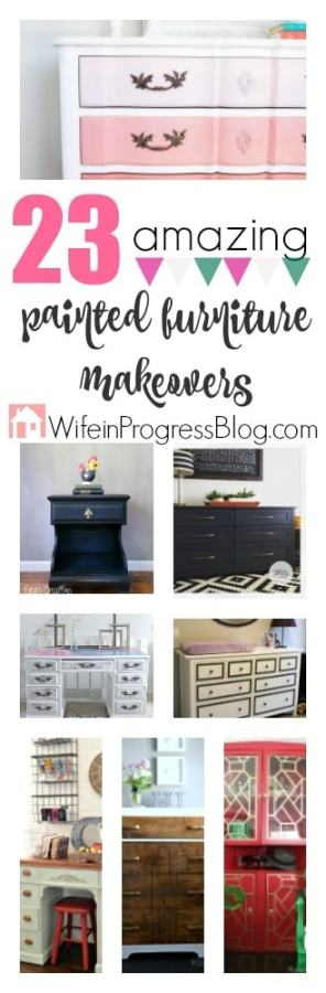23 Amazing Painted Furniture Makeovers. Everything you need to know for how to paint furniture and how to refinish furniture. Amazing tips and inpiration!