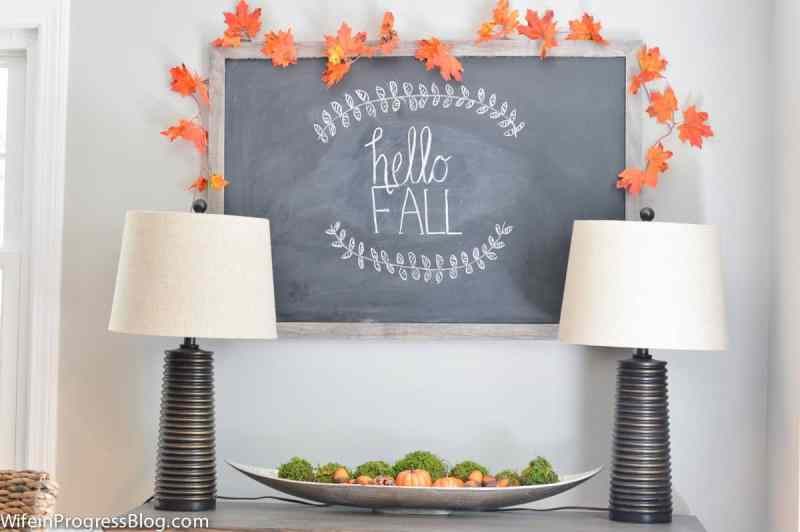 Fall decorating ideas for the dining room. Add a chalkboard and some faux foliage