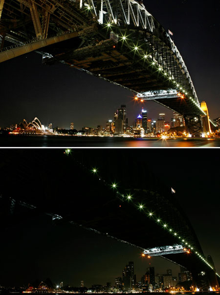 Earth Hour 2009 Sydney bridge