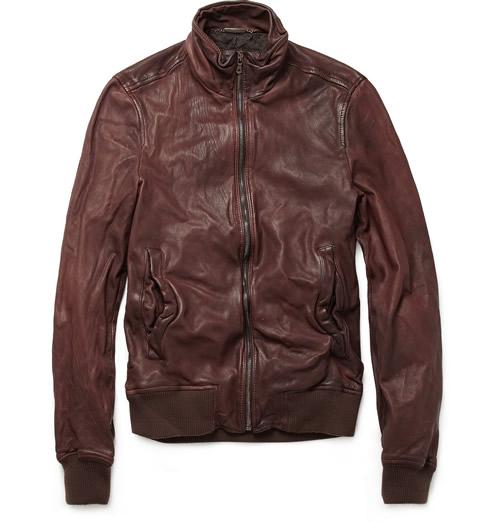Dolce & Gabbana Worn Leather Bomber Jacket