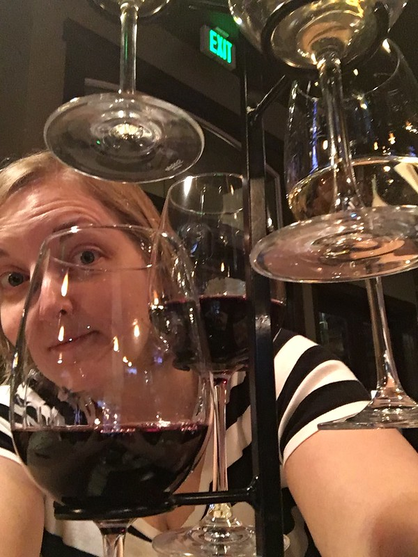 yours truly with a vertically designed flight of wine