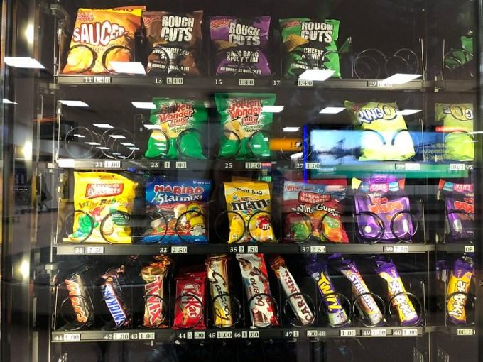 snacks in a Scottish vending machine