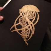 gold jellyfish end-papers for letterpress copies