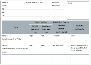 Schematic to help prioritize tasks, keep track of progress.