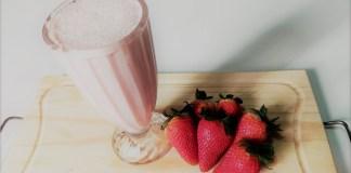 vitamina de morango ao leite