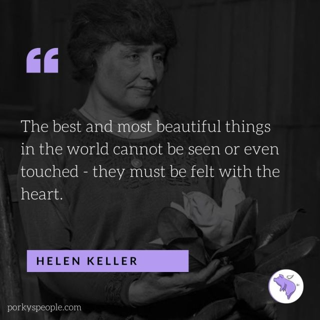An inspirational quote from Helen Keller about beauty.