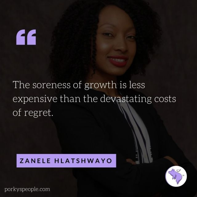 Inspirational quote from Zanele Hlatshwayo founder of Rise18, about regret and mental health.