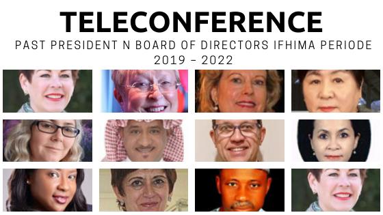 Teleconference pertama antara President, past President n Board of Directors IFHIMA periode 2019 – 2022